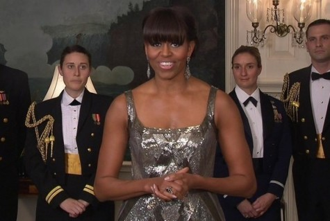 Michelle Obama in a custom-made Naeem Khan gown.